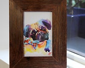 Pug Watercolour - Print & Recycled Timber Frame