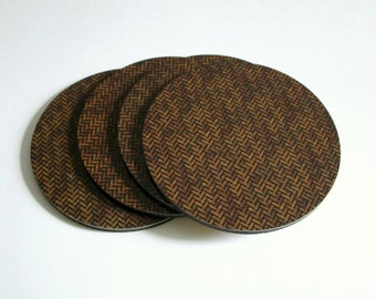 Rustic Coaster Set - Brown Wicker Pattern Drink Coasters - Cottage Decor - Rustic Home Decor - Housewarming or Hostess Gift