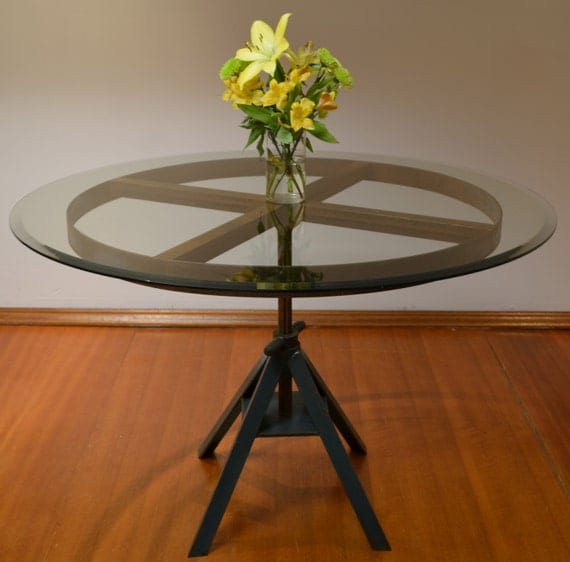 Upcycled industrial dining table with glass top for Upcycled dining table