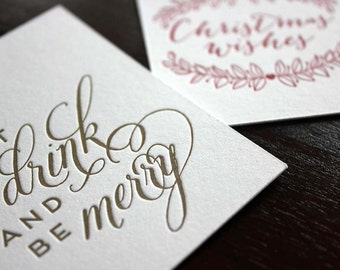 6 Pack Letterpress Christmas Gift Tags