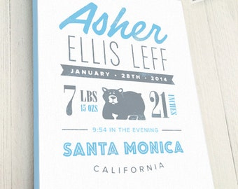 Personalized Birth Announcement, Custom Canvas Art with Baby Name and Bear Animal, You pick colors and animal