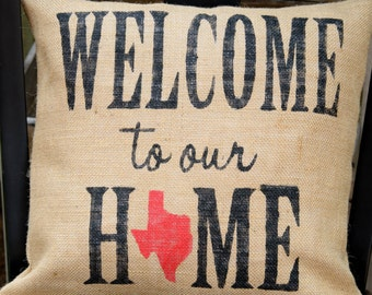 Customizable 'Welcome to our Home' Burlap Pillow