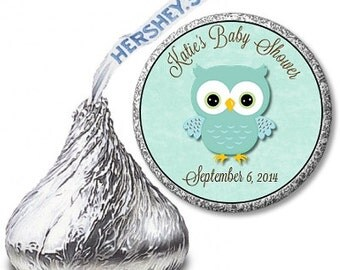 Custom Owl Baby Boy Shower Hershey Kiss Labels!  Perfect for Favors!