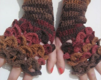 women gloves Dragon scale gloves Crocheted Fingerless Gloves Arm Warmers Brown Smoky Neutral Accessory, winter accessories