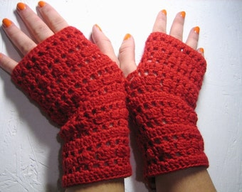 50% off SALE! Ready to ship! Crochet Fingerless, Half Gloves, Crocheted, Red gloves, spring accessory, womans day gift, woman gloves