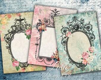 Vintage Frame Cards - Digital Collage Sheet, Digital Cards, Gift Tags, Digital Stamp, Digital Paper, Scrapbook Paper, Gift Cards,  Frames