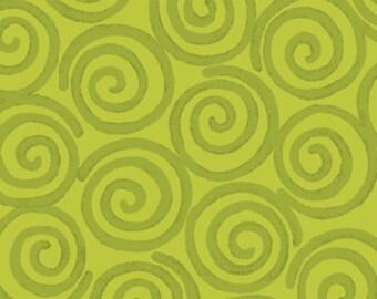 One Yard Curiosities - Whirligig in Pistachio Green  - Little Girl Fabric Line Designed by Nancy Halvorsen for Benartex (W922)