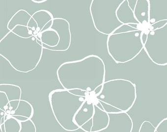 Half Yard Mormor - Blomster in Mint Green - Vibrant Cotton Quilt Fabric - Lotta Jansdotter for Windham Fabrics (W1187)