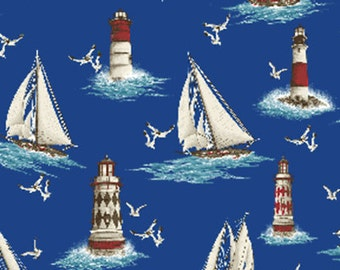"SUPER CLEARANCE!! 31"" REMNANT By The Sea - Lighthouse Point in Royal Blue - Nautical - Cotton Quilt Fabric - Benartex Fabrics (W1611)"
