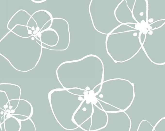 One Yard Mormor - Blomster in Mint Green - Vibrant Cotton Quilt Fabric - Lotta Jansdotter for Windham Fabrics (W1187)