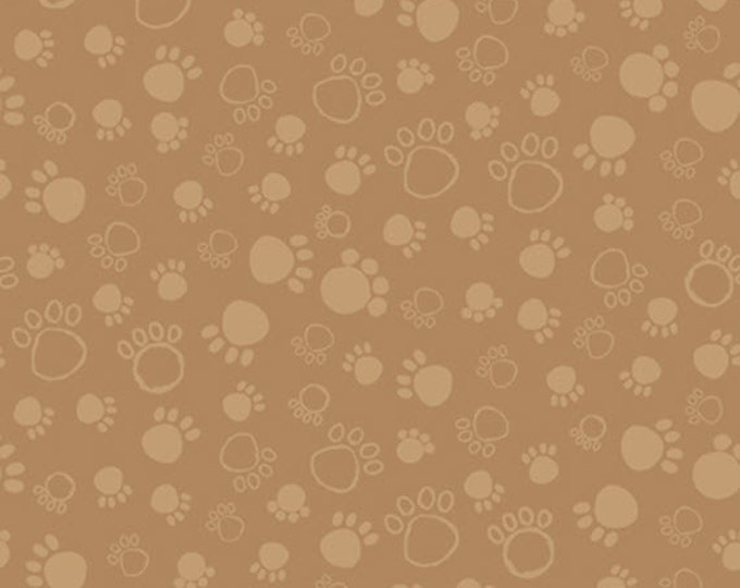 Half Yard A Dog's Life - Paw Print Tonal in Light Brown - Cotton Quilt Fabric - Tara Reed Designs for Quilting Treasures (W2070)