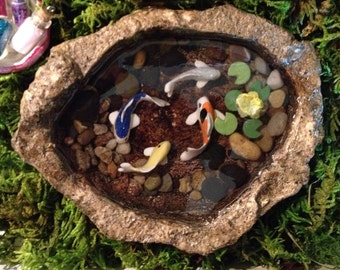Popular items for resin pond on etsy for Artificial koi fish for ponds