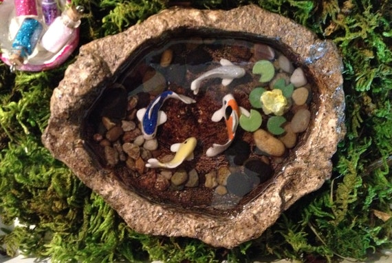 Miniature koi pond c fairy garden accessory resin fish pond for Artificial fish pond