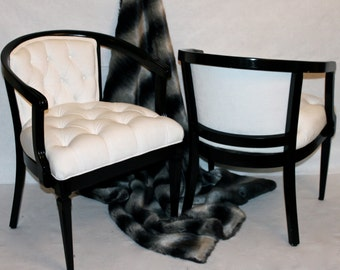 SOLD  CAN REPLICATE Pair Of Vintage White Velvet Barrel Chairs With Tufting