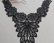 Black Venise Lace Applique Collar for Lace Jewelry, Sewing, Shirt, Sweater, Applique, Garments