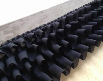 2 Yards Black Ruffled Lace / Soft Chiffon Lace Trim / Layered Lace / Baby Skirt / Clothing Design