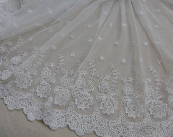 White Lace Fabric Trim, Floral Tulle Lace Fabric, Wedding Dress Home Decor Curtain Fabric By the Yard
