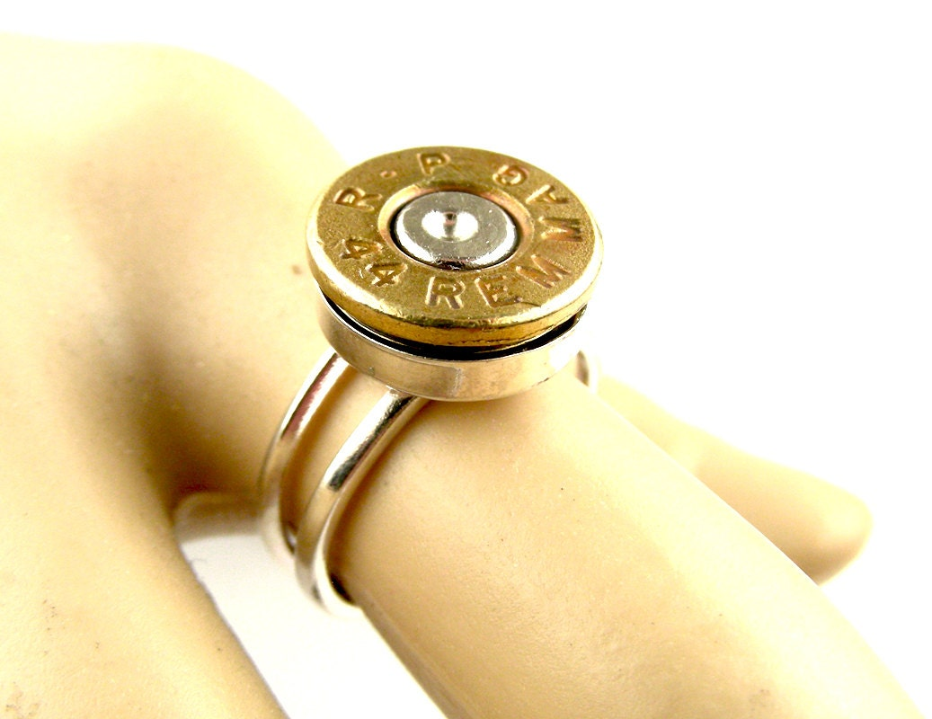 44 mag bullet ring steunk bullet ring silver by steamsect