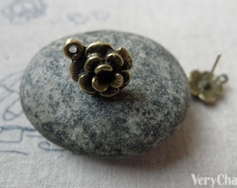 20 pcs of Antique Bronze Flower Earring Posts With Loop Steel Pin 12mm A6508