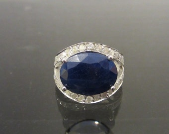 Vintage 14K Solid White Gold 11.4Ct Genuine Sapphire & Diamond Ring Size 7