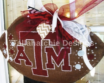 Texas A&M Burlap Football Door Hanger* Collegiate Door Hanger* Football Door Hanger* Texas Football