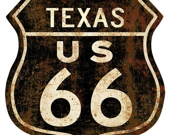Route 66 Texas Rusty Shield Floor Decal #48072