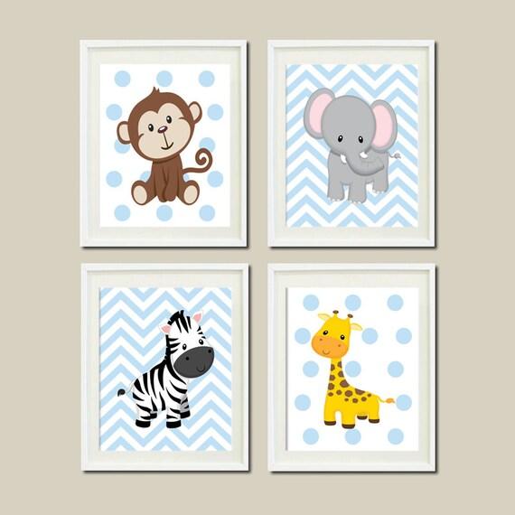 Jungle Wall Decor For Nursery : Jungle nursery wall art elephant giraffe by lovelyfacedesigns