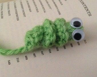 Crochet bookmark bookworm