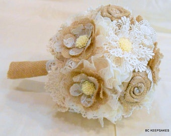 Wedding Bouquet, Bridal Bouquet, Fabric Bouquet, Burlap Bouquet, Vintage Bouquet, Burlap and Lace, Keepsake Bouquet, Alternate Bouquet