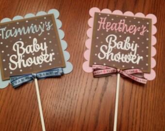 BABY CENTERPIECE STICKS - Baby Boy Centerpiece Sticks - Baby Girl Centerpiece Sticks - Baby Shower Decoration Sticks Set of 3