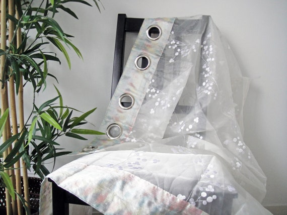 Sheer curtains pair white cotton grommet by privatelabelboutique
