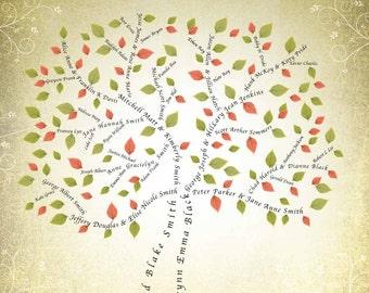 3 or 4 Generation 11x14 Family Tree