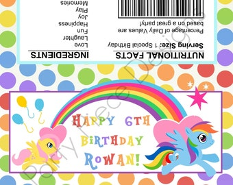 My Little Pony Printable Chocolate Bar Wrapper. Party Favor