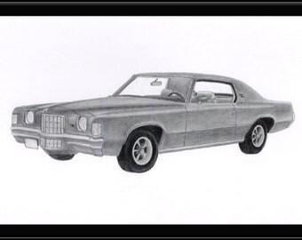 Car art pencil drawing of a 1972 Pontiac Grand Prix