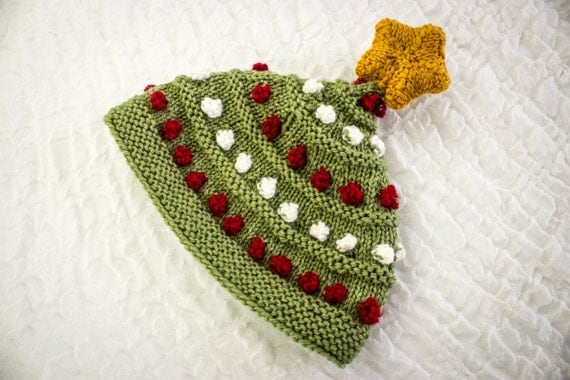 Knitted Baby Christmas Tree Bobble Hat With Knit Star Topper