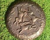 Three Hares Wall Plaque GARDEN ORNAMENT STONE Bronze Effect - Indoor or Outdoor
