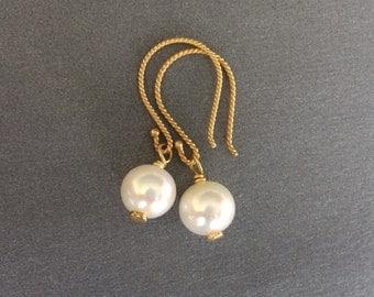 Pearl Earrings, Freshwater Pearl Gold Earrings, New Twisted Gold Wires, Delicate Pearl Earrings, June Birthstones