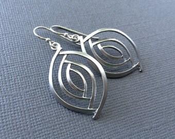 Silver Oval Shape Earrings, Matte Silver Almond Dangle Earrings, Sterling Silver Earring Wires