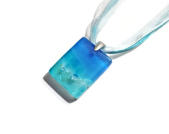 Fused Glass Pendant with Dichroic Accents in Caribbean Getaway Series - One of a Kind