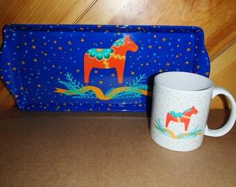 Scandinavian Swedish Dala Horse Coffee Tea Mug #232U
