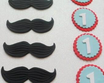 1 Dozen Mustache Theme Cupcake Toppers