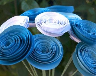 Dark Blue, Light Blue and White Modern Paper Flower