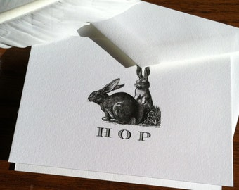 Bunny Rabbit Stationery with Monogram or Easter Card - Set of 10, 100% Cotton Savoy