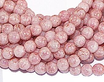 Opaque Pink Lustre 4mm Round Czech Glass Beads x 100