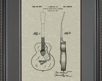 Gretsch Guitar Patent Artwork Player Musician Guitarist Gift G9478