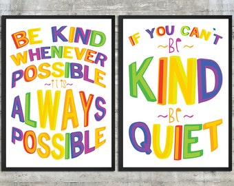 Playroom Rules Art, Play Room Rules Sign , Rainbow Be Kind Whenever Possible & Be Kind Or Be Quiet Playroom Art Set of 2 20x30 Poster Prints