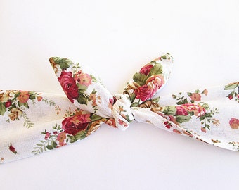 Tie up Headband, Head wrap, Headscarf, Pin Up Headbands,  Tie up Headscarf, Vintage white rose.