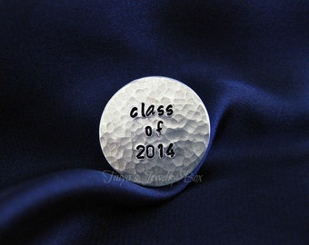 Class of 2014 Locket Plate - Floating Locket Plate - Hand Stamp Locket Plate
