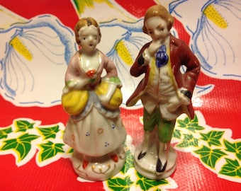 Vintage hand painted ceramic colonial couple- Japan