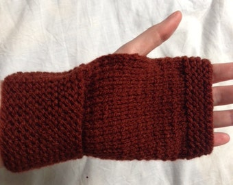 Fingerless Gloves, Plain Gloves, Brown Wool Gloves, Brown Wool Mittens, Brown Knit Mittens, Brown Knit Gloves, Knitted Mittens, Wool Mittens